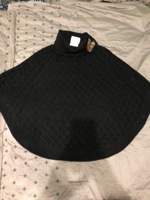 Poncho black mit Leder schnallen und Struktur