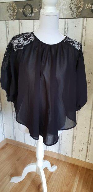 Poncho Bluse mit Spitze