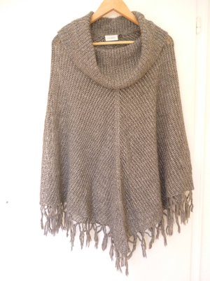 Canda Knitted Poncho silver-colored-grey