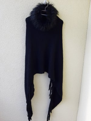 Gebreide poncho zwart