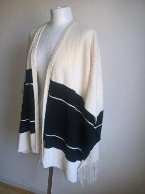 Poncho cardigan jacke beige schwarz Zara