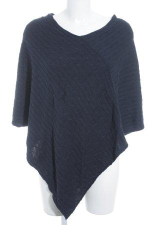 Poncho bleu foncé torsades style simple