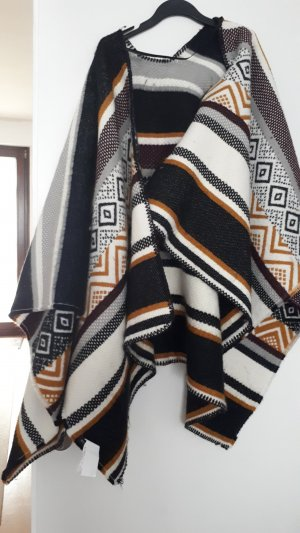 Reserved Poncho black-brown