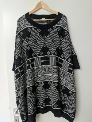 H&M Conscious Collection Poncho blanc-gris anthracite