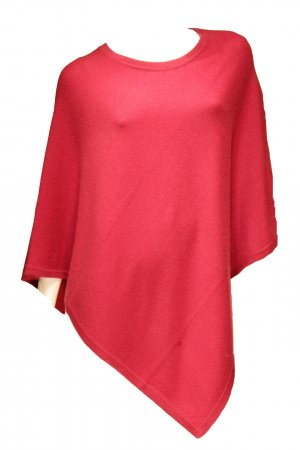 Poncho raspberry-red cashmere