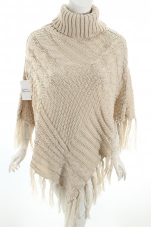 Poncho hellbeige Zopfmuster Casual-Look