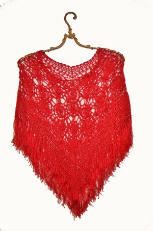 Poncho im Folklore Hippie Stil - Statement Piece