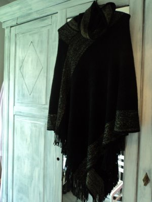 Anna Field Knitted Poncho black-gold-colored