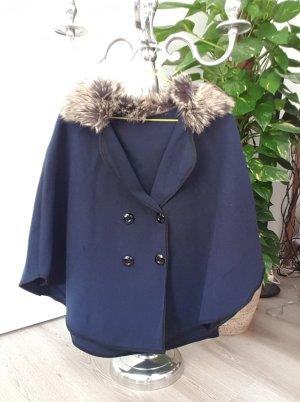 Poncho-Jacke mit Kunstfell One Size