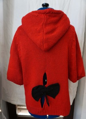 Poncho black-red