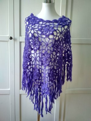 Knitted Poncho blue violet-lilac
