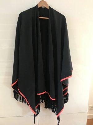 Poncho Miss Godlife schwarz mit neon-corall farbenem Streifen