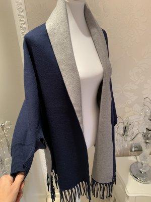 Poncho blu scuro-grigio chiaro