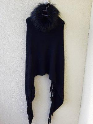 Poncho black polyacrylic