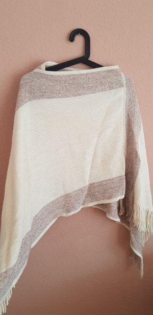 Colloseum Poncho blanco puro-camel