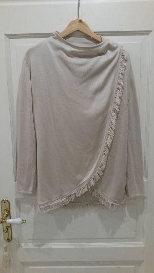 Poncho mit Fransen / Pullover / Wickelshirt
