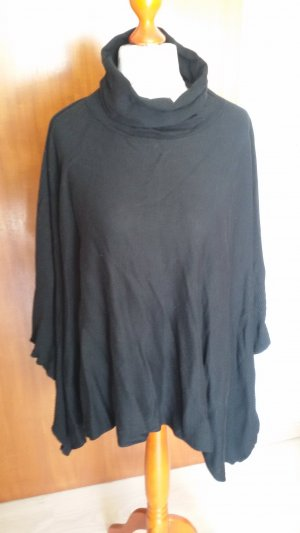 Blue Motion Knitted Poncho black viscose