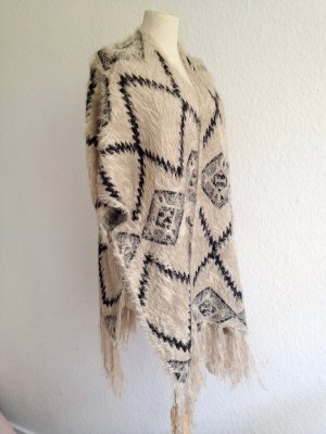Poncho Muster Fransen Black Beige Onesize