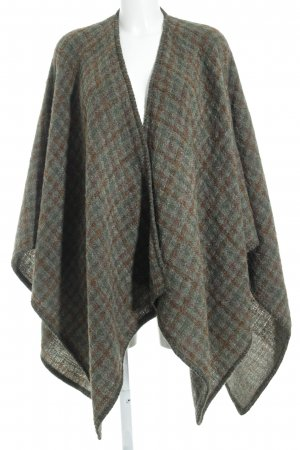 Poncho ocher-olive green check pattern casual look