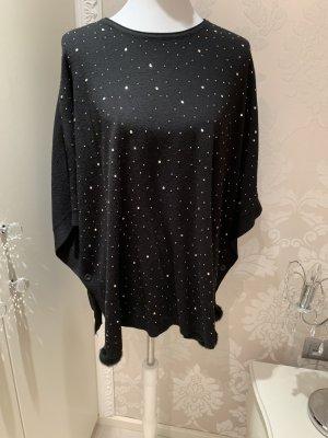 Poncho Pullover schwarz S/M mit glitzer