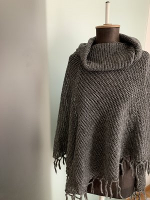 Knitted Poncho grey-silver-colored