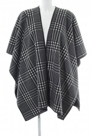 Poncho noir-gris clair motif en zigzag style décontracté