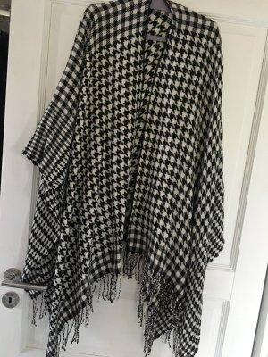 Poncho schwarz weiß Karo Kimono