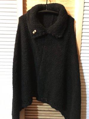 Poncho schwarz, winterwarm