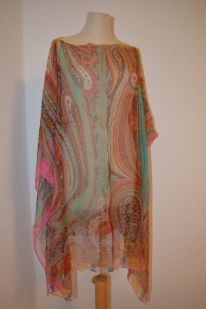 Poncho multicolored silk
