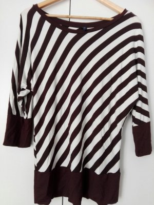 Cowl-Neck Shirt black brown-white cotton