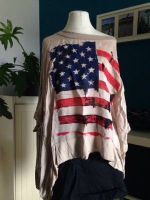 Poncho Top mit USA Flagge in superweitem Look