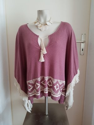 Poncho/Tshirt mit Fledermausärmeln und Fransen mit tollem Muster