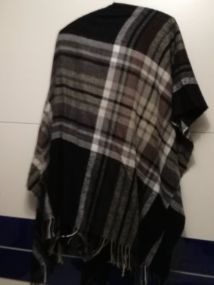 Poncho noir-taupe