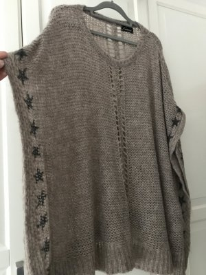 Grace Poncho marrón grisáceo tejido mezclado