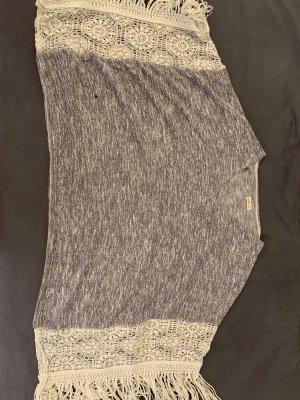 Hollister Poncho de punto gris claro