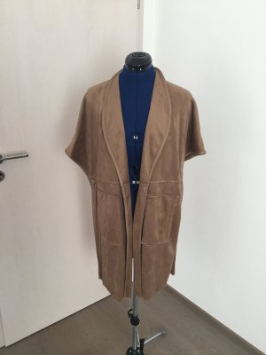 Only Gilet long tricoté bronze