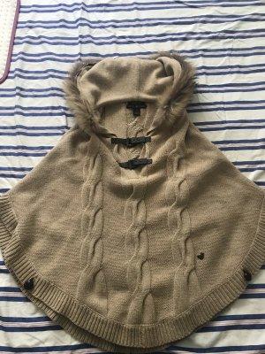Poncho chameau-beige laine mérinos