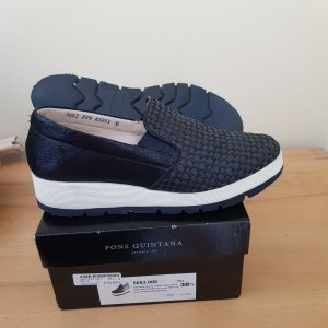Pons Quintana Slippers white-dark blue leather