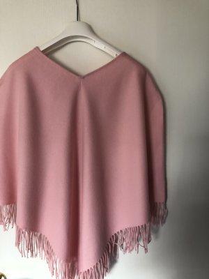 Gebreide poncho roze-lichtroze