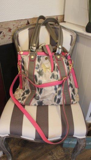 Poodlebag XXL Handtasche Shopper Leo Muster pink grau schwarz