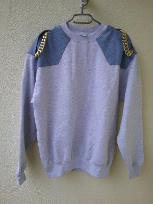 Sweatshirt gris clair-bleu azur