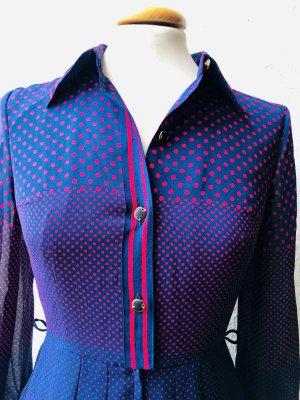 Vestido camisero azul-rojo neón