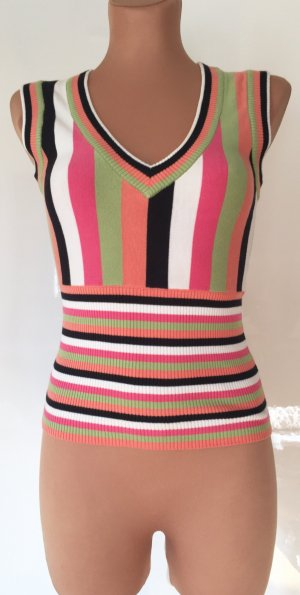 Pop of Colors! V - neck, knitted top, size S, stretchy