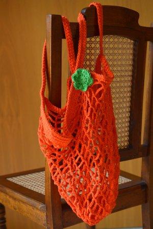 poppiges Häkelnetz Einkaufsnetz Häkeltasche Häkelbeutel Orange Grün Handmade neu DIY Turnbeutel
