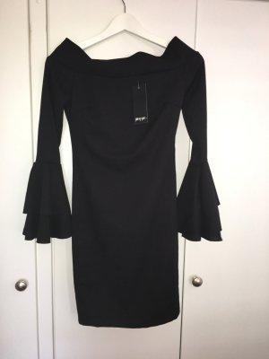 Poppy Bardot Flute Sleeve Dress BLACK
