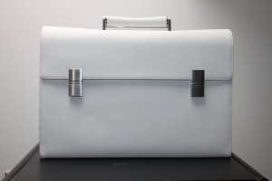 Porsche Design Briefcase white-silver-colored leather