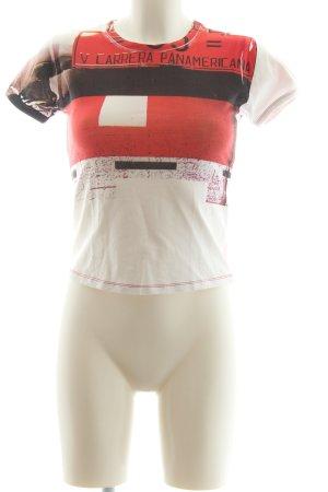 Porsche Design T-Shirt weiß-rot Motivdruck Casual-Look