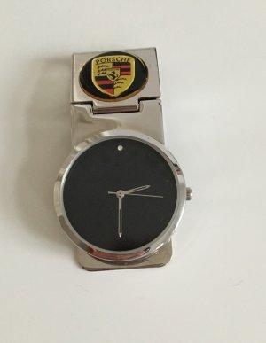 Porsche Uhr / Money Clip Geldscheinklammer mit eingelassenem Porsche Logo Emblem