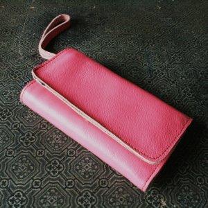 Portemonnaie Geldbeutel Geldbörse Mini Clutch Neon Pink Echt Leder