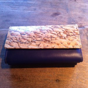 Wallet sand brown-blue leather